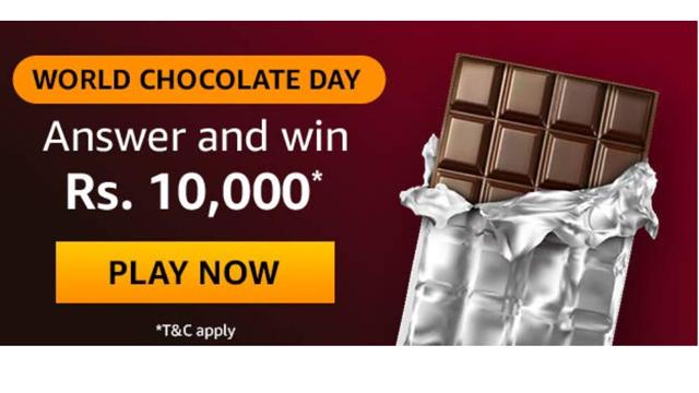 Amazon World Chocolate Day Quiz – Answers & Win ₹10000