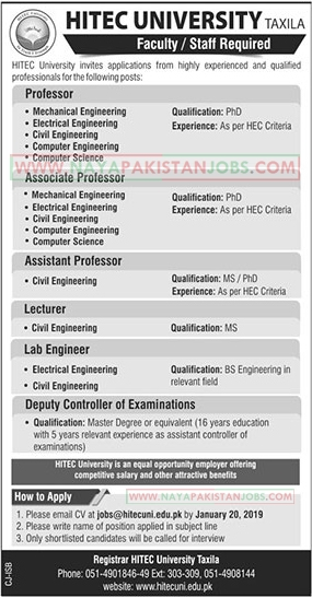 Hitec University Taxila Jobs Jan 2019, Hitec University Taxila Teacher Jobs