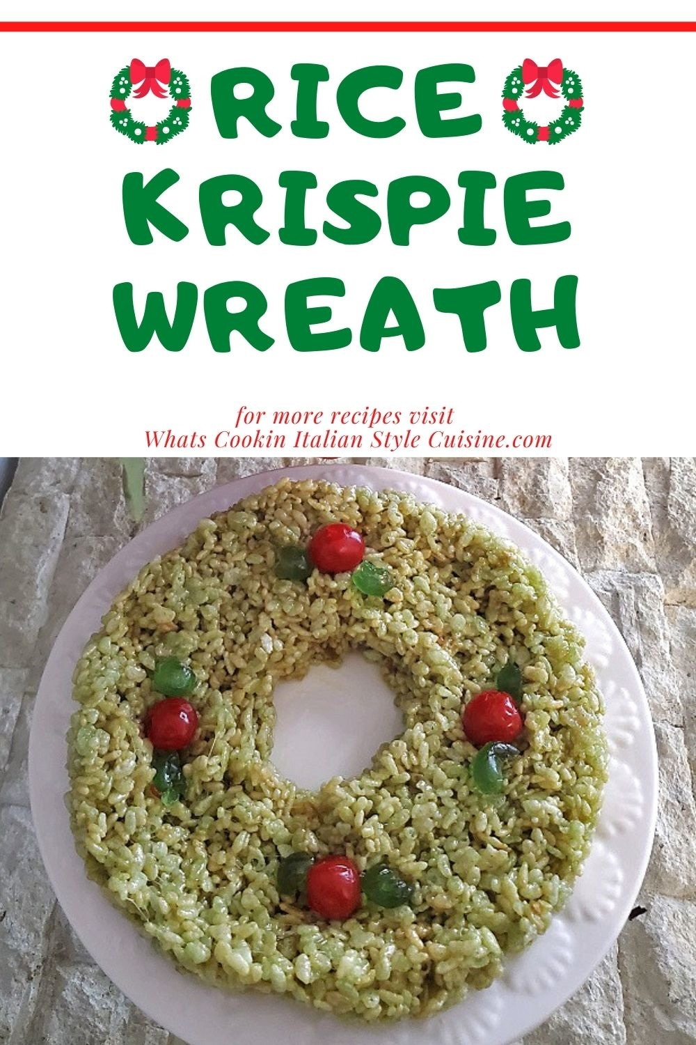 this is a pin for later using rice krispies to make a holiday Christmas wreath