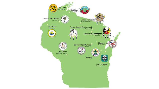 Map of Wisconsin with official seals and seats of government of the 11 recognized and one unrecognized American Indian Nations: Ojibwe Nation: St. Croix, Lac Courte Oreilles, Red Cliff, Bad River, Lac du Flambeau, and Mole Lake Sokaogon; Forest County Potawatomi; Menominee; Brothertown; Oneida; Stockbridge-Munsee; Ho-Chunk