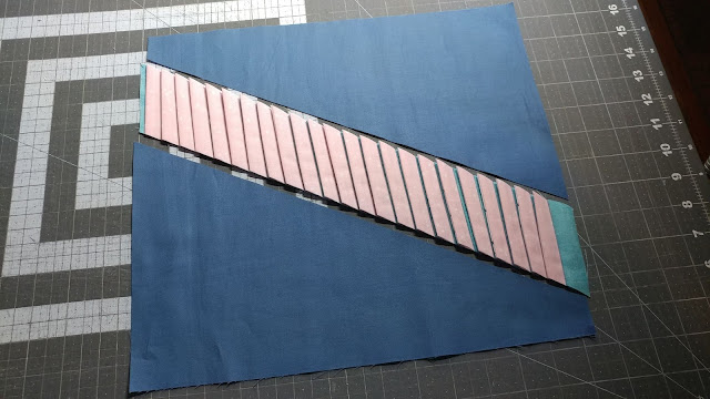 Adding textured strips to the mini quilt