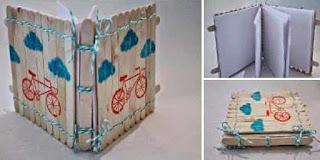 Kreasi Unik Sampul Buku Notes Dari Stik Es Krim