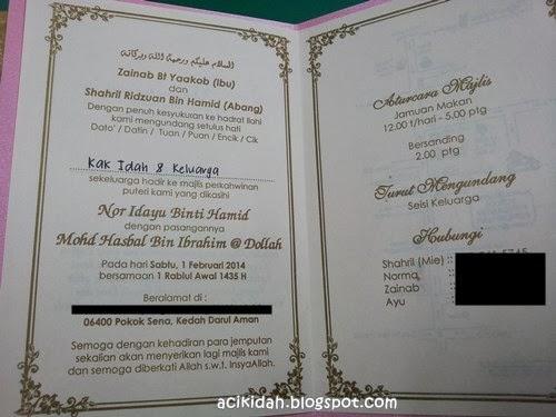 Kad Undangan Perkahwinan Idayu & Hasbal
