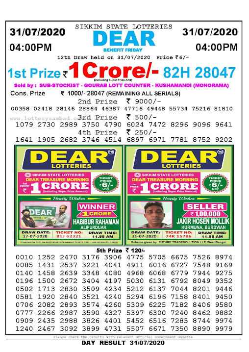 Sikkim State Lotteries 31-07-2020 Lottery Sambad Result 0400 PM
