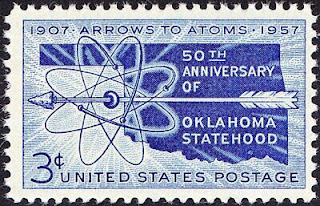 US - 1957 - 3 Cents Dark Blue Oklahoma Statehood Anniversary Issue