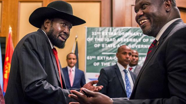 South Sudan rebel leader Riek Machar and President Salva Kiir