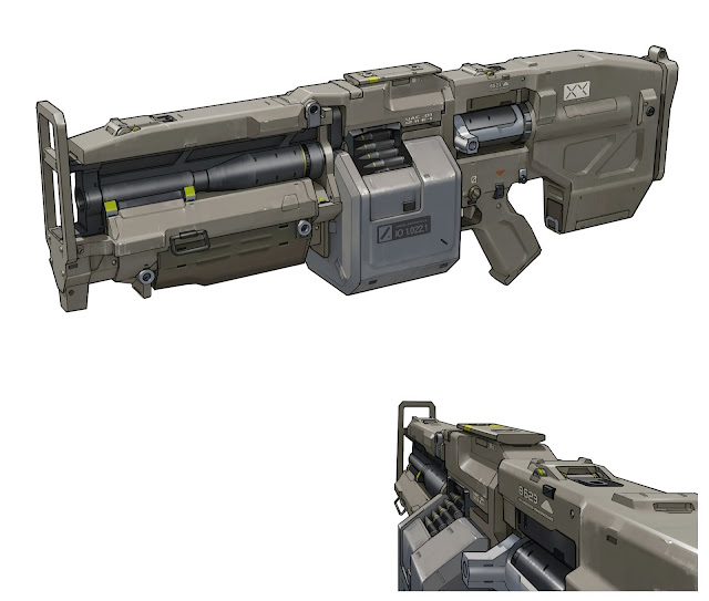 DOOM Heavy Assault Rifle Gun Concept Art by Jon Lane