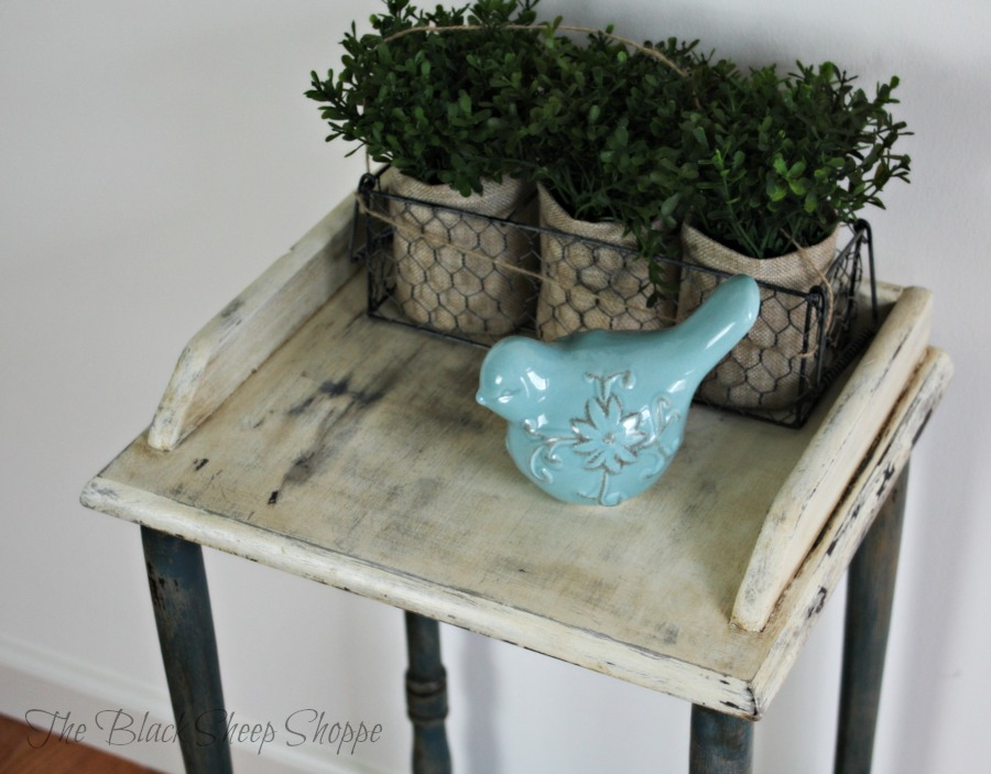 The chalk paint was distressed with a damp wash cloth.