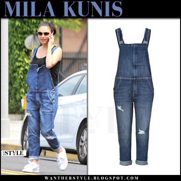 Mila Kunis in denim overalls current elliot and white sneakers puma what she wore april 27 2017