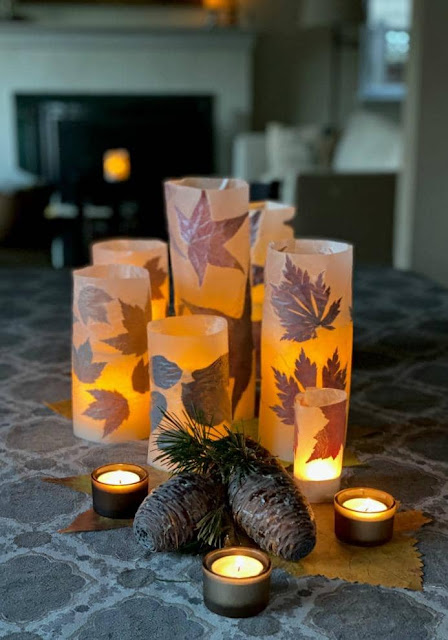 DIY Fall Leaf Luminaries