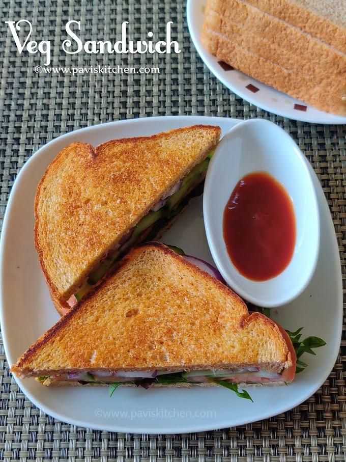 Veg sandwich recipe   Indian vegetable sandwich   Toasted whole wheat bread sandwich