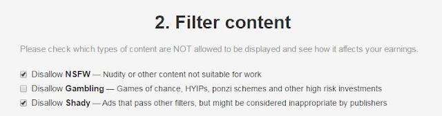 Con el filtro de contenido podras elegir entre NSW, Gambling, y Shaddy