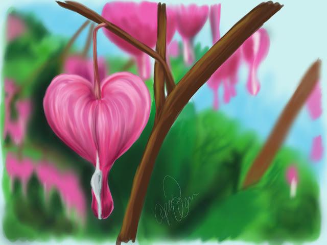 bleeding hearts digital painting