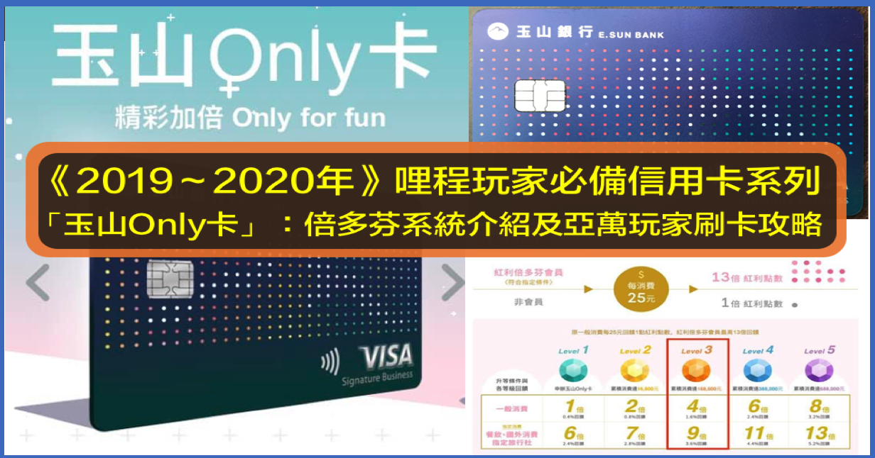《2019~2020年》哩程玩家必備信用卡系列「玉山Only卡」:倍多芬系統介紹及亞萬玩家刷卡攻略