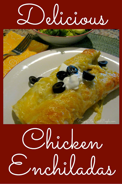This delicious chicken enchiladas recipe uses green enchilada sauce, cream cheese, rice, and beans to make an easy to put together, filling meal.