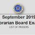 September 2019 Librarian Board Exam Result