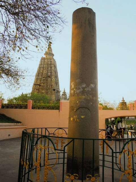 An Ashokan Pillar at the Mahabodhi Temple, Bodhgaya. This pillar was brought here from Gaya (15 kms from Bodhgaya).