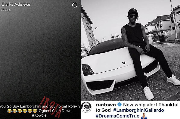 Davido's cousin mocks Runtown for buying Lamborghini