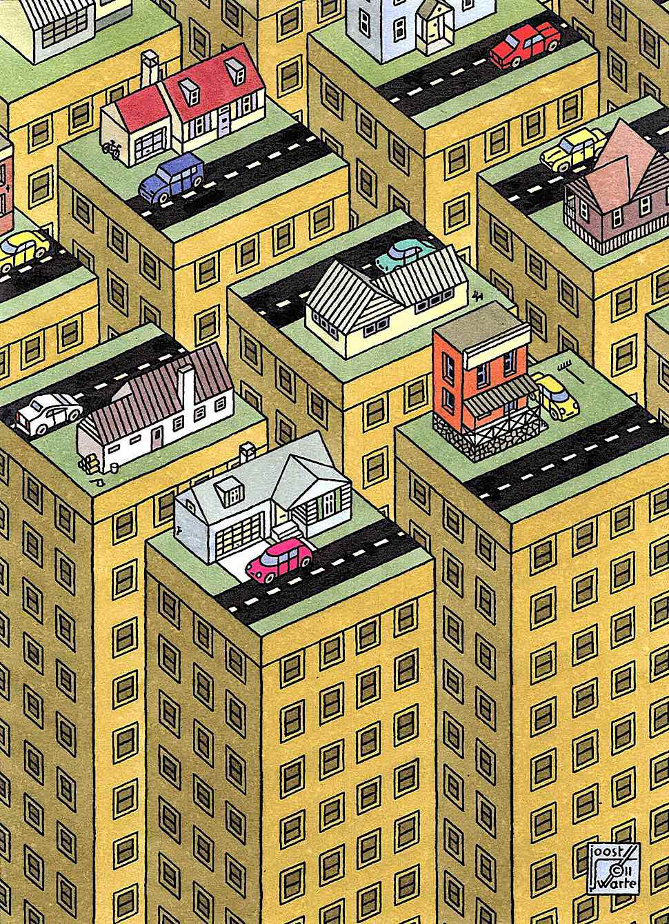 an illustration of urban living by Joost Swarte