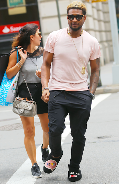 Usher steps out in house slippers, and you won't believe how much it costs (photos)