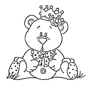 risco de ursinha princesa para pintar em fraldas