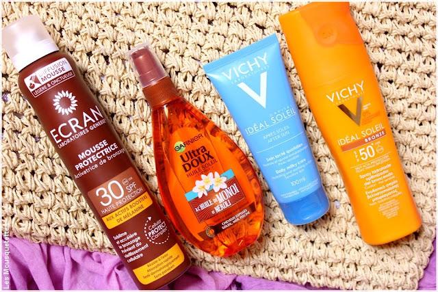 Sélection produits protection solaire corps et cheveux sur le blog : Garnier, Vichy et Ecran !