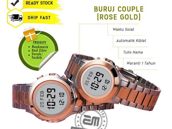 (Buruj Couple) Jam Tangan Solat Digital dan Arah Kiblat