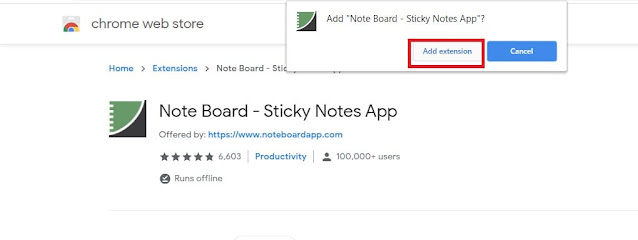 Note Board - Sticky Notes App : Click on add extension