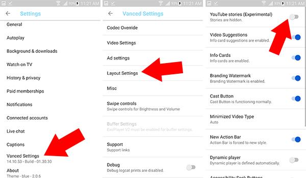 اخفاء خيار القصص من واجهة تطبيق يوتيوب