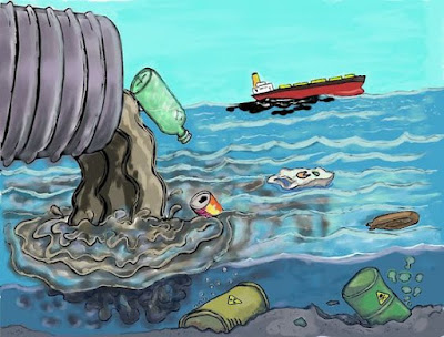 Save water Save life -Water pollution drawing