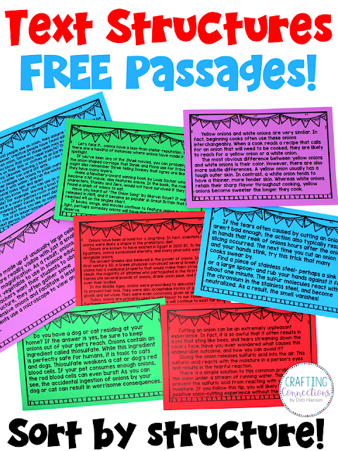 Teach text structures with this FREE sorting activity that features 8 nonfiction passages! Ideal text structure lesson for the upper elementary classroom that includes an anchor chart!