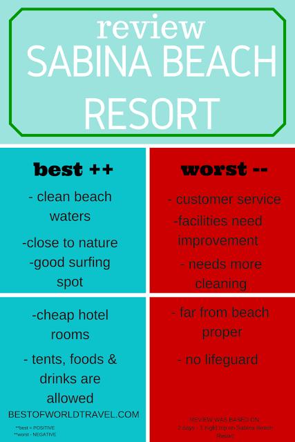 sabina beach resort review