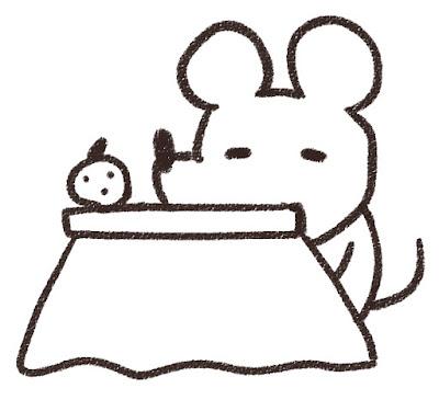 コタツでくつろぐネズミのイラスト(子年)白黒線画