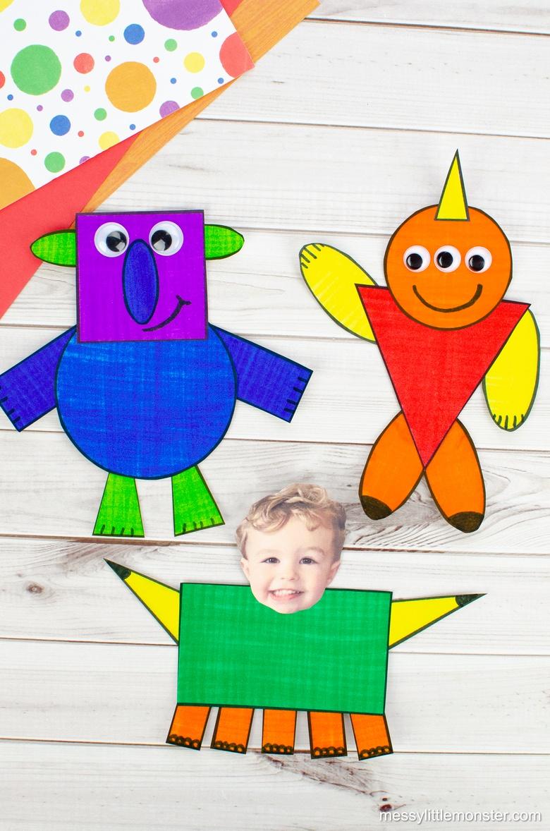 Shape monster craft for kids