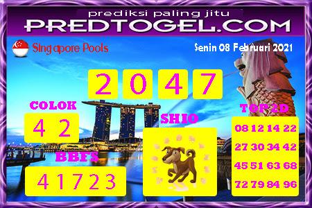 Prediksi SGP Senin 08 Februari 2021