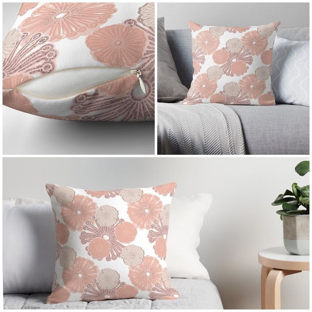 Rose Gold Floral Pillow from Redbubble