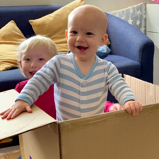 Baby Boy standing up in a cardboard box grinning. His sister is sitting behind him