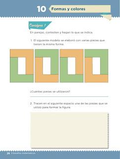 Apoyo Primaria Desafíos matemáticos 1er grado Bimestre 1 lección 10 Formas y colores