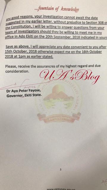 Meet Me In My Office September 20 - Gov. Fayose Writes EFCC Again (Full Letter)