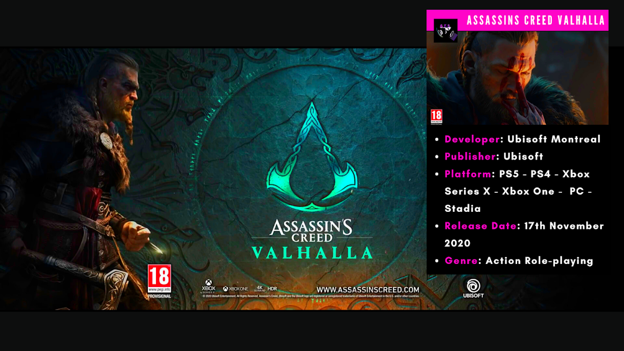 Assassin S Creed Valhalla Release Date Trailer Images Ps4 Xbox One Pc Stadia Including Next Gen Consoles Xbox Series X Playstation 5 Gamer Full Stop Latest Video Game Information News