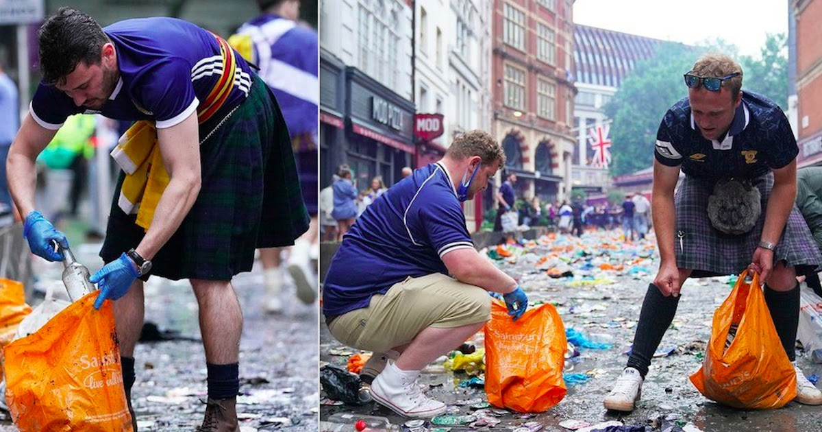 Scotland Football Fans Clean Up London Streets Following Euro Celebrations