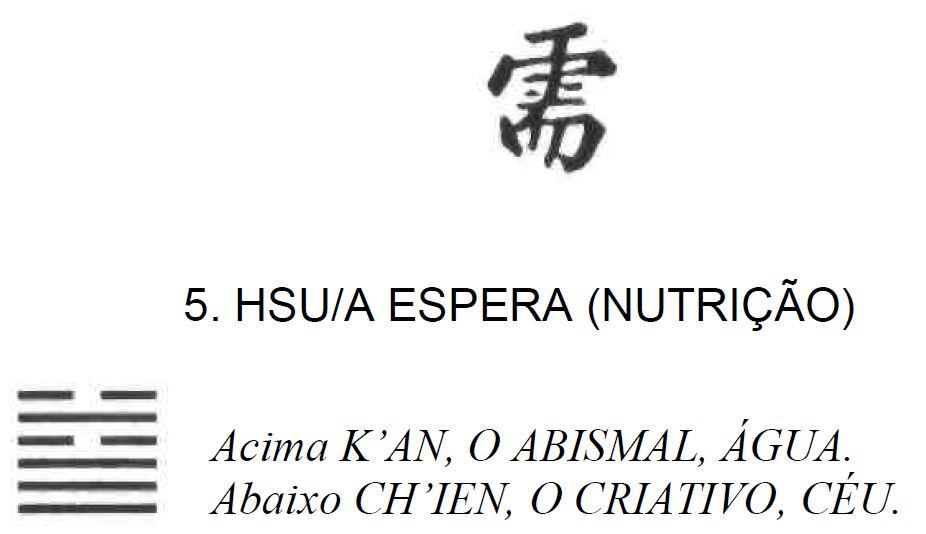 Imagem de Hsu, Espera (Nutrição), quinto dos 64 hexagramas do I Ching, o Livro das Mutações