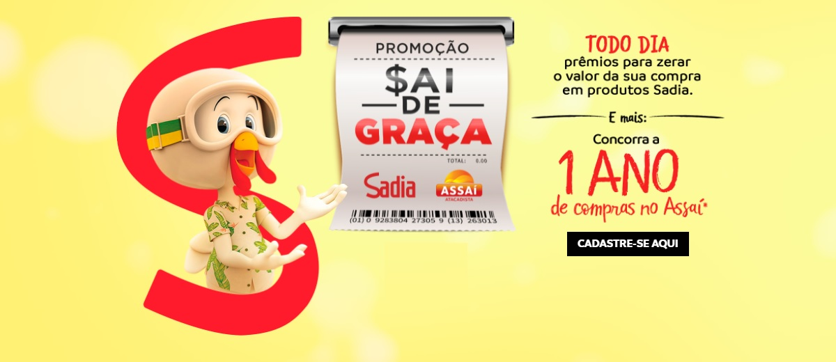 Promoção Sai de Graça Sadia Assaí Compras Grátis 1 Ano