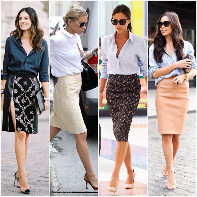 Pencil Skirt + Button-Down with Rolled up Sleeves