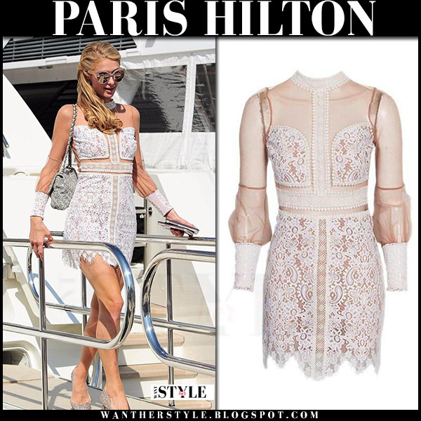 Paris Hilton in ivory lace for love and lemons vivian mini dress in Cannes what she wore
