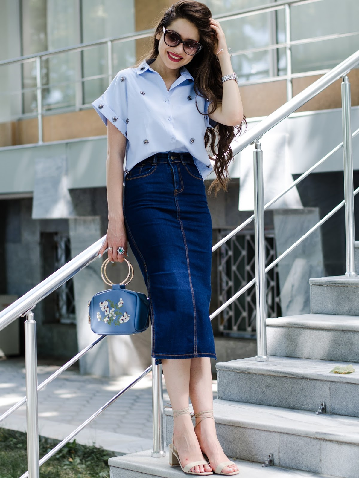 fashion blogger diyorasnotes diyora beta midi skirt denim skirt shirt heeled sandals casual chic work outfit