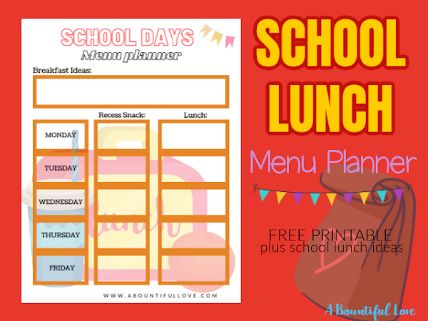 School Lunch Menu Planner