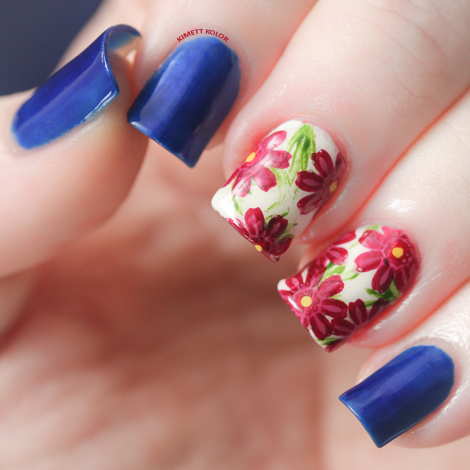 Sapphire and Aster September Nail Art by KimettKolor