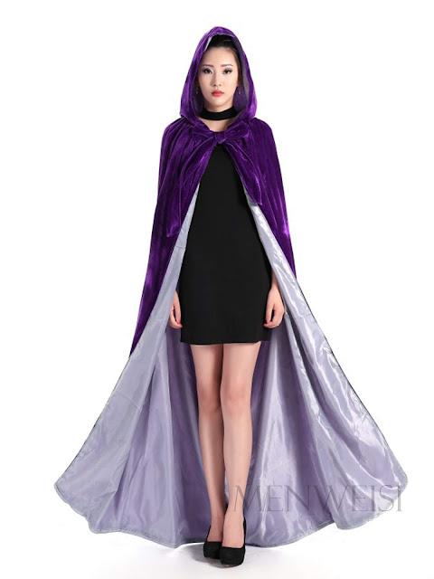 Purple Halloween Costume Long Cape Hooded Velvet Cloak