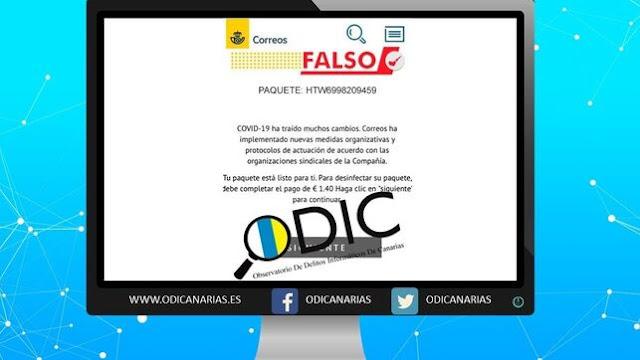 El Observatorio de Delitos Informáticos advierte de un falso mensaje de Correos que pide pagar 1,40 euros por desinfectar paquetes